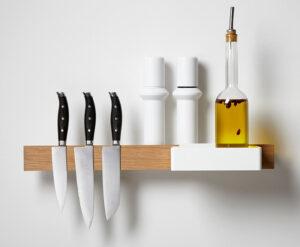 Flex keukenorganiser in wit met messenmagneet en Flex Box groot