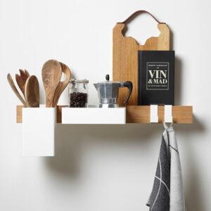Flex Keukenorganiser in wit met messenmagneet, bakken en haken van Gejst