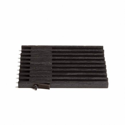 Zwarte onderzetter van hout en leer by Wirth