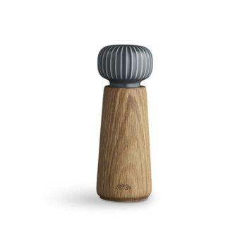 Hammershøi-peper en zout moelen kruidenmolen van eikenhout en antraciet keramiek kahler design