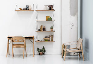 We Do Wood Loop Shelf, Field Desk, Dining Chair en Normad Chair in Moso Bamboe