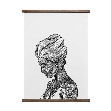 Poster vrouw Reflection zwart/wit 50x70 cm van Paper Collective