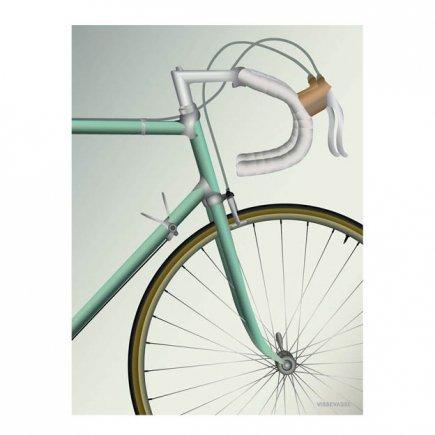 Pastel Racefiets poster Racing bicycle 50x70 VisseVasse byJensen