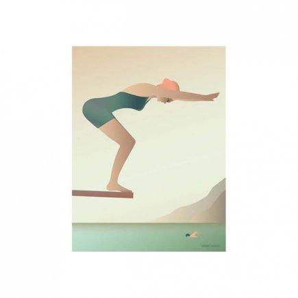 The Swimmer poster 30x40 van VisseVasse byJensen