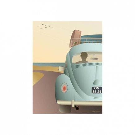 VW Beetle poster 30x40 cm van VisseVasse byJensen