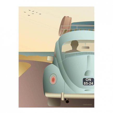 VW Beetle poster 50x70 cm van VisseVasse byJensen