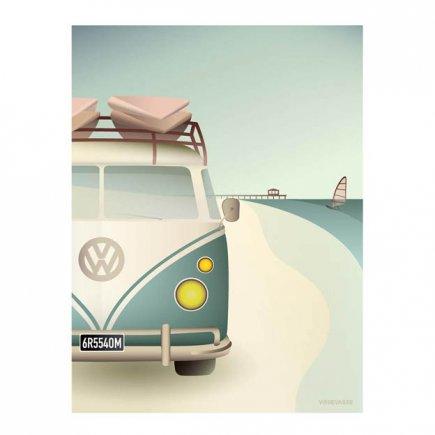 VW Camper poster 50x70 cm van VisseVasse byJensen