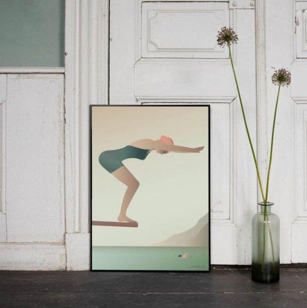 Poster The swimmer van VisseVasse byJensen