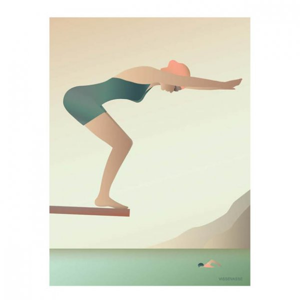 The Swimmer poster 50×70 cm van VisseVasse byJensen