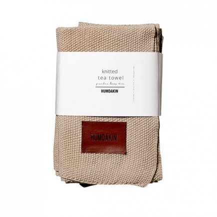 Gebreide handdoek 3-pak licht bruin light stone van Humdakin
