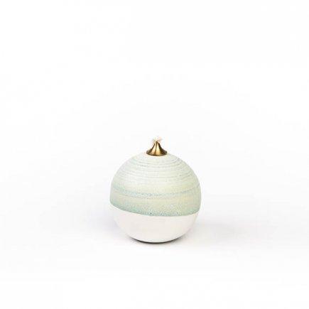 Olie lamp keramiek wit en blauwgroen van Christina Friis