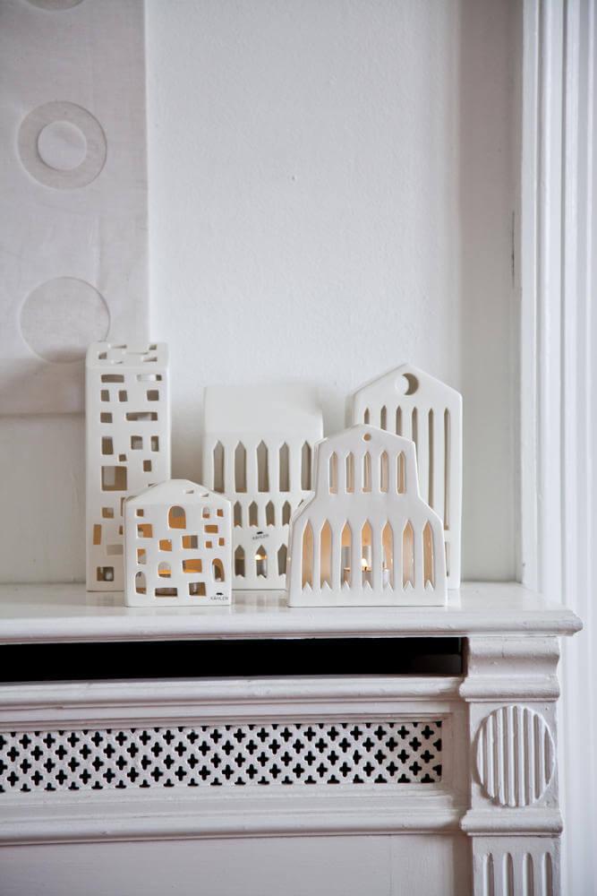 Witte huisjes keramiek waxinelichhouders kandelaars van kähler