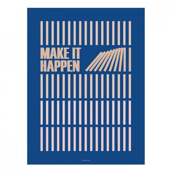 Make it happen poster blauw van vissevasse