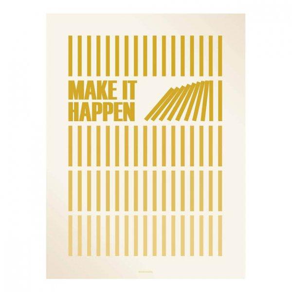 Make it happen tekst poster geel van vissevasse2