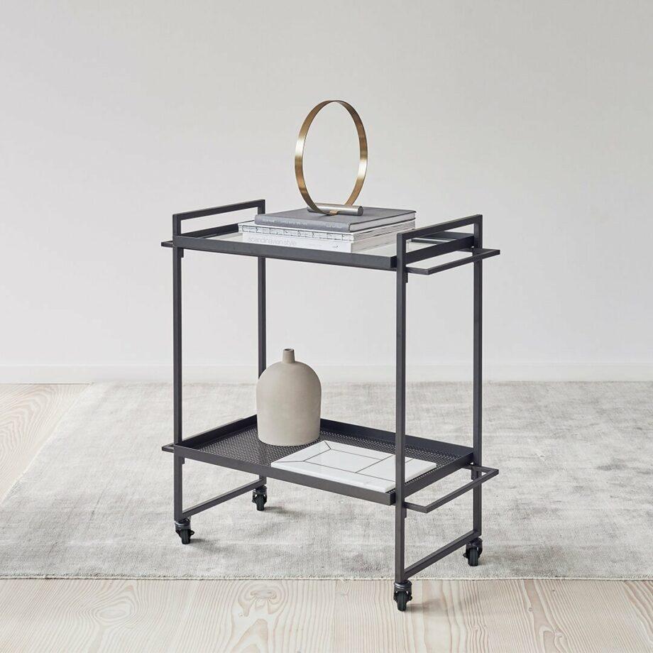 Kristina Dam minimalistische trolley in zwart metaal bauhause