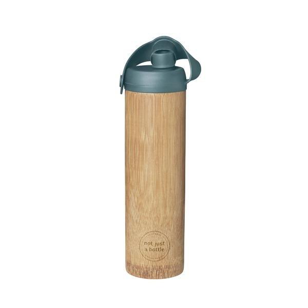 Bamboe bidon waterfles LIFE met groene deksel not just a bottle byjensen
