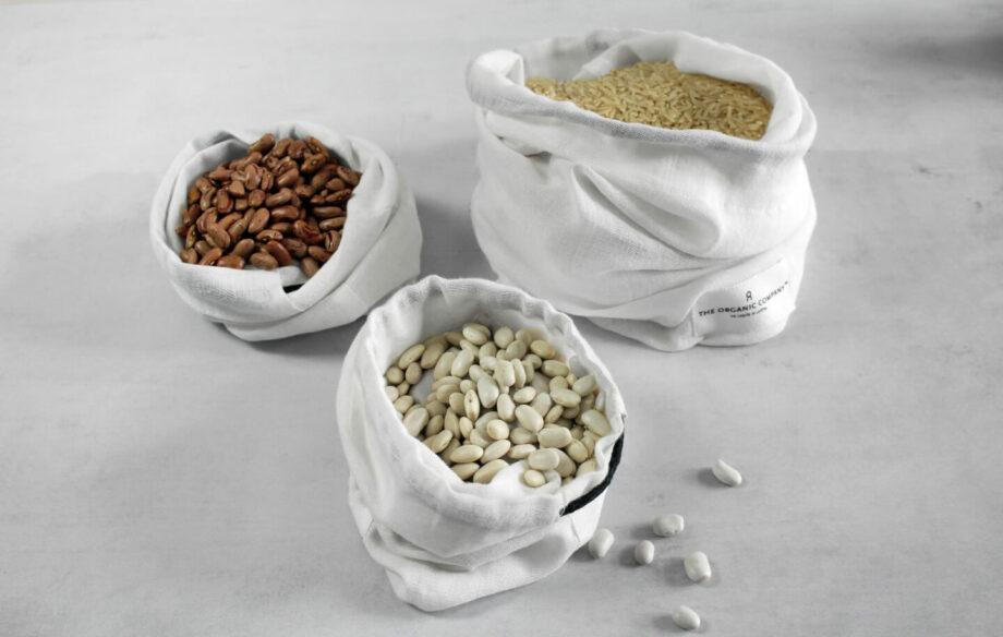 Katoenen bewaarzakken Food Bags small medium large in naturel wit biokatoen GOTS the organic company byjensen