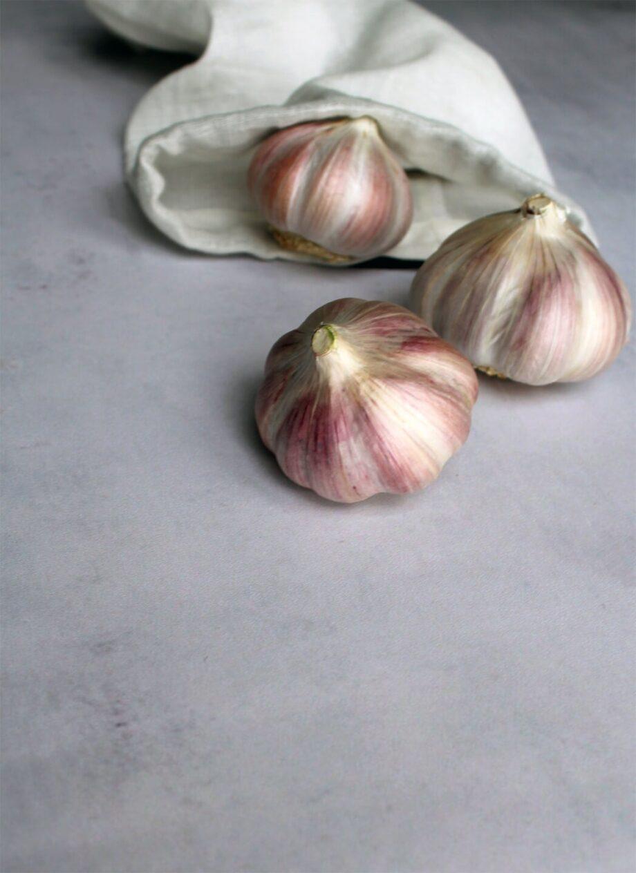Klein katoenen bewaarzak Food Bag met knoflook