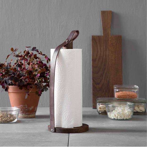 By Wirth keukenrolhouder gerookt eiken en leer Scandinavisch design