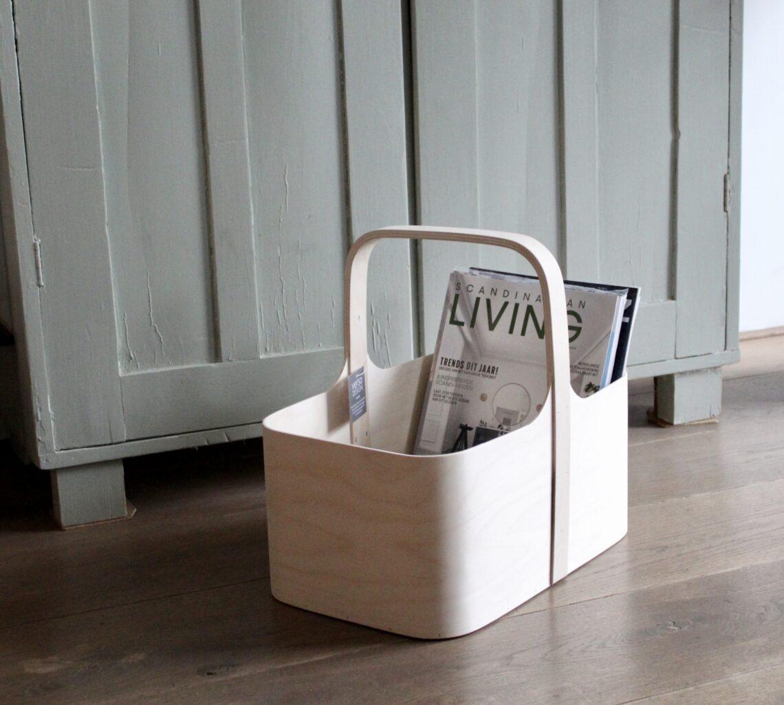 Koppa magazine rack opbergmand van berkenhout Verso Design