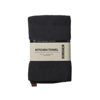 Humdakin handdoek zwart coal keukenhanddoek gebreid biologisch katoen byJensen