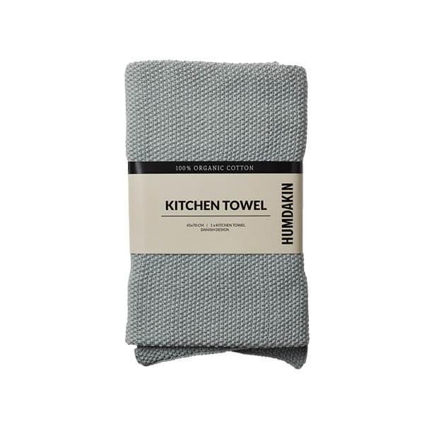 Humdakin handdoek stone grijs keukenhanddoek gebreid biologisch katoen byJensen