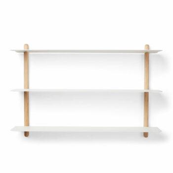 Nivo A wandrek van eikenhout wit metaal minimalistisch eenvoudig wandplank gejst design byjensen