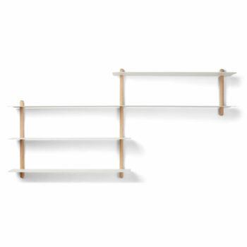 Nivo B zwevende wandrek van eikenhout wit metaal minimalistisch eenvoudig wandplank gejst design byjensen