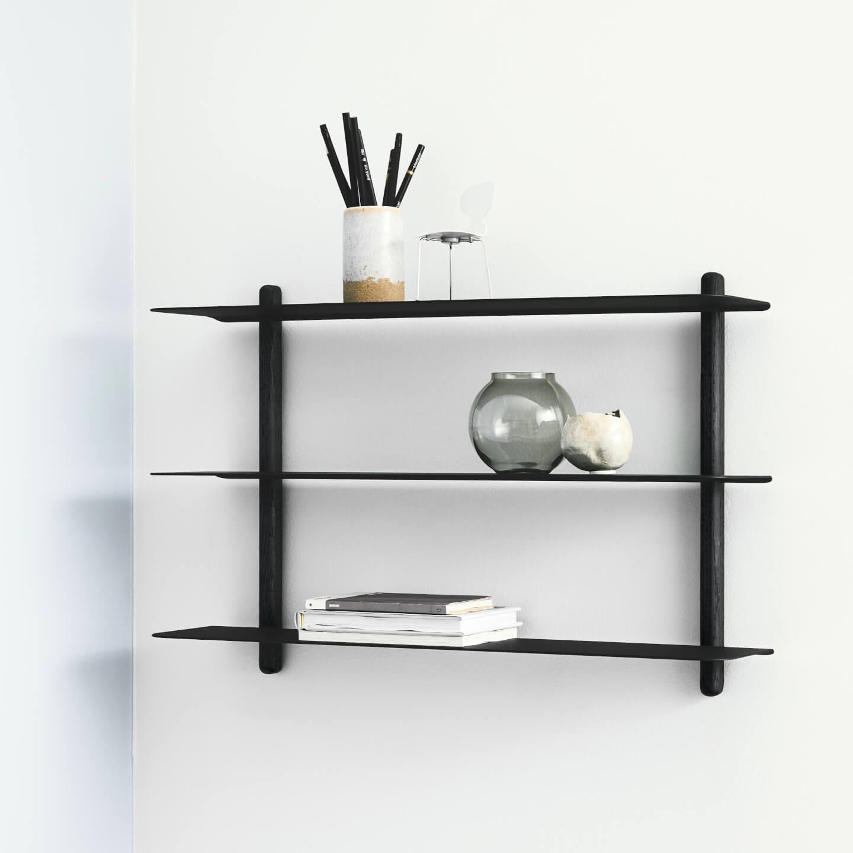 Wandplank Zwart Metaal Hout.Nivo A Wandrek Van Gejst Design Zwart Online Byjensen Nl