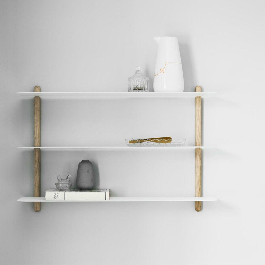Witte wandrek NIVO A van hout zwart metaal minimalistisch eenvoudig wandplank gejst design byjensen
