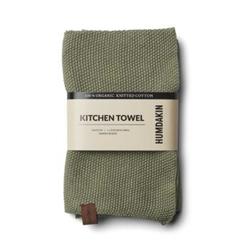 Hundakin gebreiden vergrijsde groene handdoek oak biologisch katoen