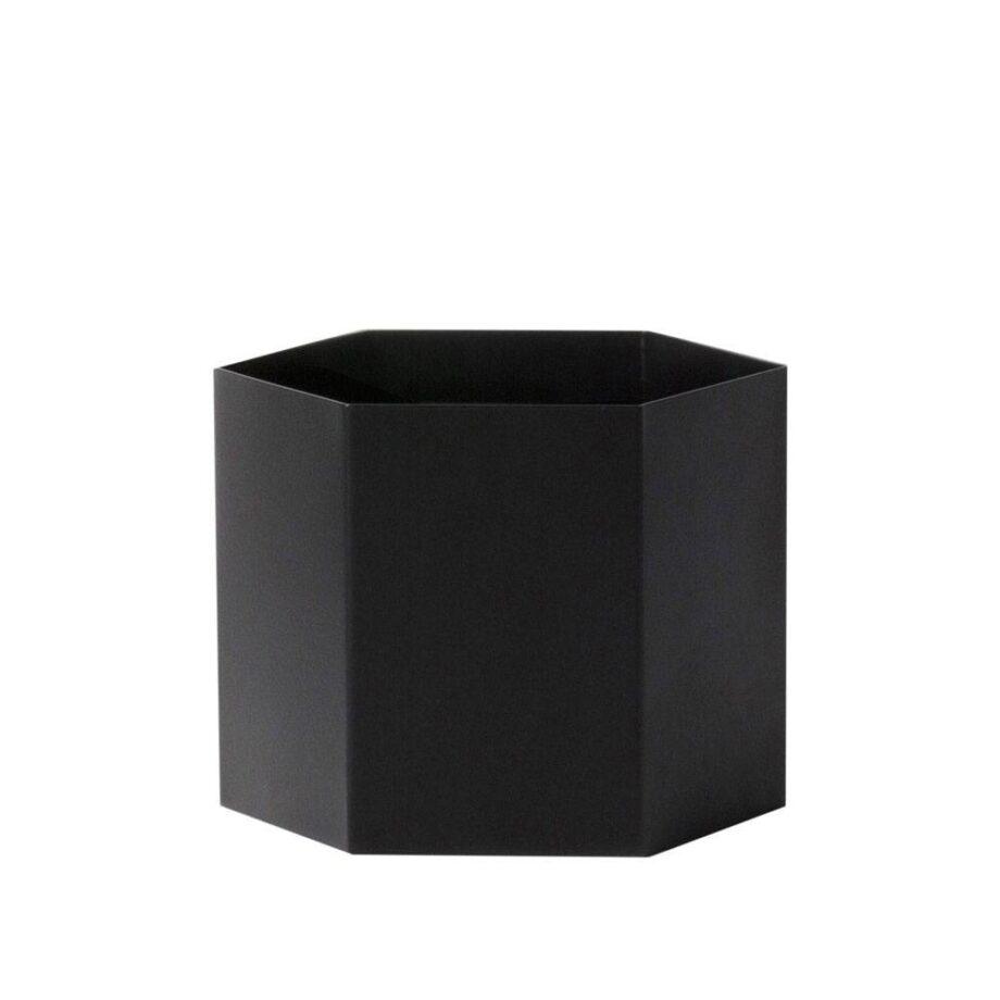 ferm-living-4179-zwarte-bloempot-hexagon-pot-extra