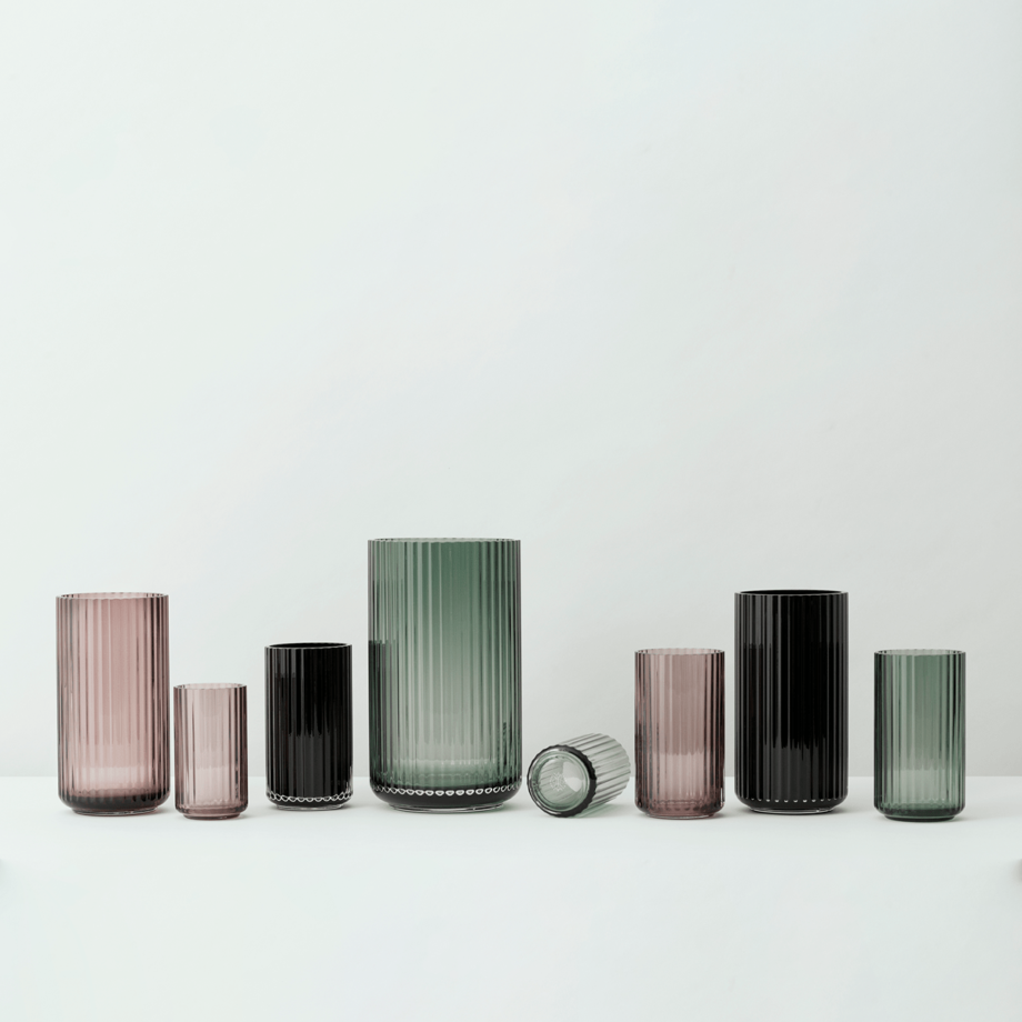Glazen vazen Lyngby Burgundy roze porcelean