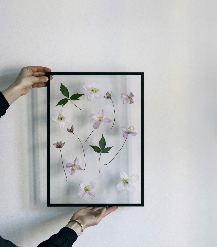 Moebe Frame transparante lijst zwart met gedroogde bladen