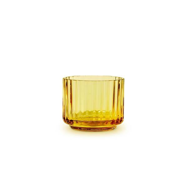 Lyngby theelichthouder theelichtje amber geel glas waxinelichthouder