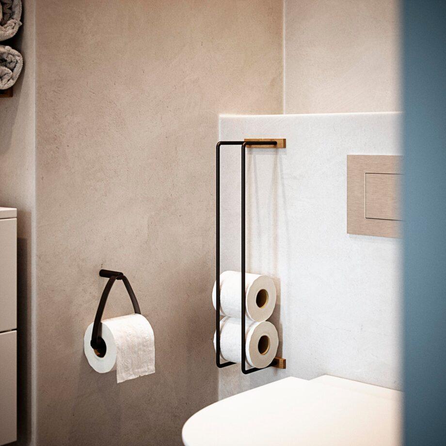 By Wirth Badkamerrek toiletrolhouder zwart