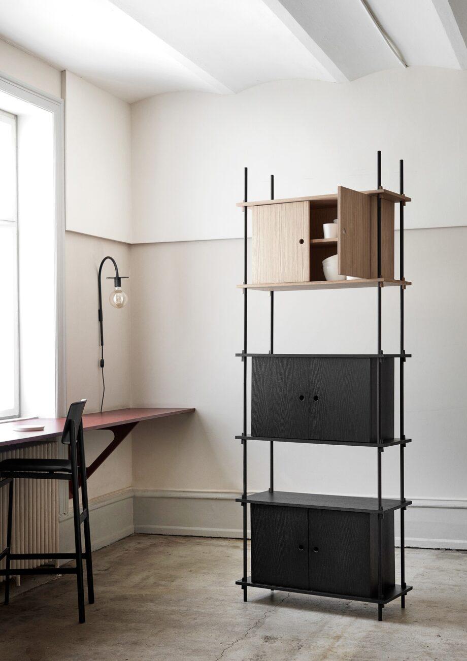 Uniek Moebe shelving system met 3 kabinetten in zwart en eikenhout