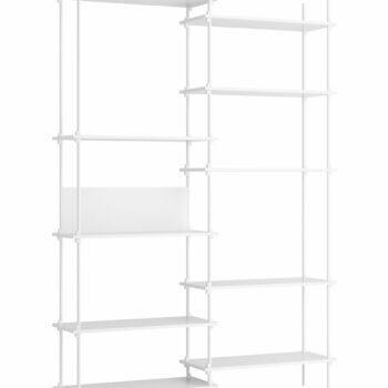 Moebe kast shelving system tall double set 8 wit eikenhout