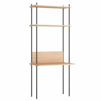 Moebe design bureau met home office Desk shelving system eiken zwart