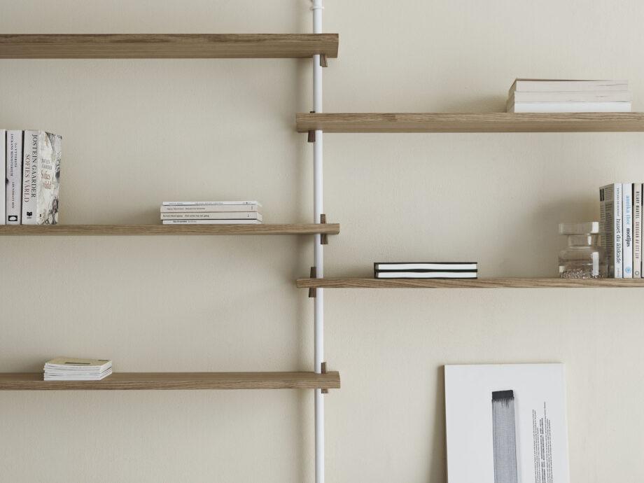 Moebe Wall shelving system wandrek wit eiken