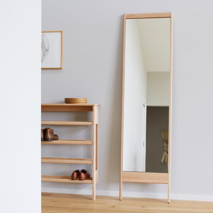 Form refine a line mirror spiegel 195 schoenenrek wit eikenhout