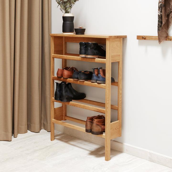 Form refine shoe rack schoenenrek voor hal eikenhout