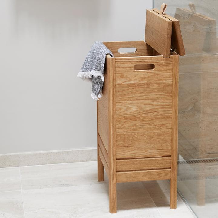 Form refine a line houten wasmand met deksel badkamer