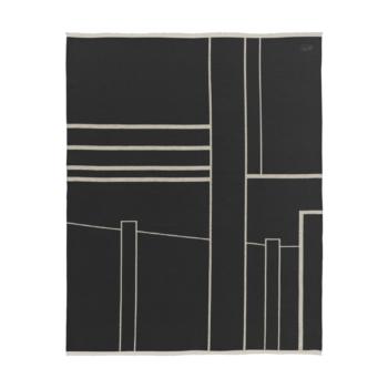 Kristina dam architecture throw plaid geborsteld katoen off-white zwart