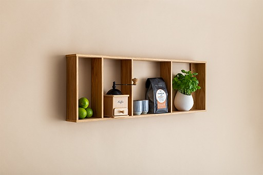 We Do Wood Foursquare wandkast met 4 planken eikenhout horizontaal