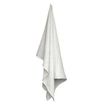 The Organic Company wafel handdoek gewafeld wit Natural white 150x100 cm
