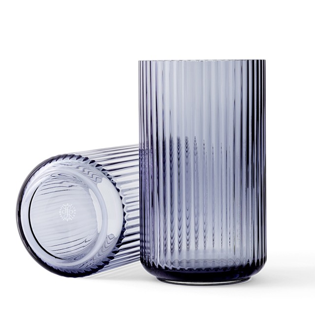 Lyngby glas vaas 31 cm midnight blue blauw