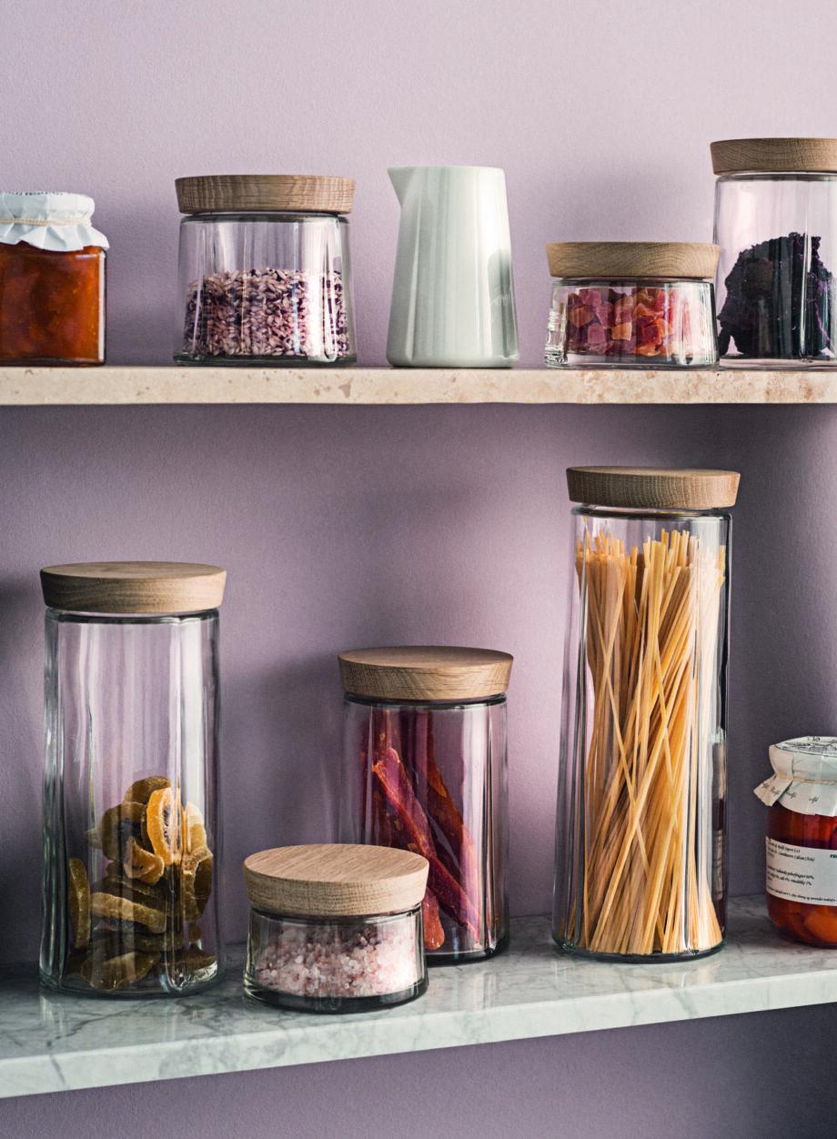 Glazen voorraadpotten met eikenhouten deksel voor de keukenvan Rosendahl Grand Cru