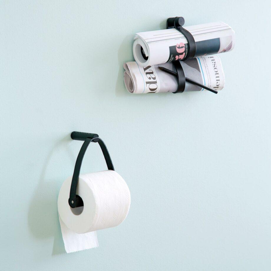 By Wirth toiletrolhouder zwart dubbele leren ophanglus voor wc