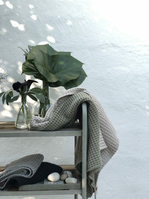 Humdakin wafelhanddoeken badhanddoeken in groen en grijf natuurlijke tinten